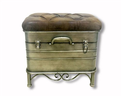 50cm Iron French Style Ottoman Storage Stool Hinged Faux Leather Lid